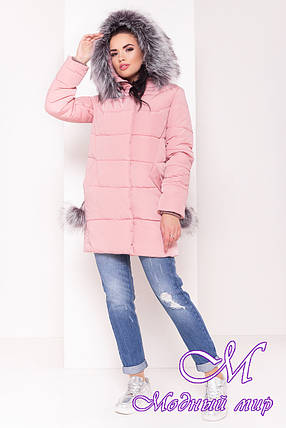 Женская розовая зимняя куртка (р. S, M, L) арт. Ари 3442 - 17539, фото 2