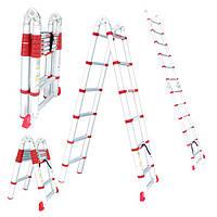 Лестница алюминиевая телескопическая раскладная универсальная 12ступ., 3.85м Intertool LT-3039