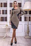 Стильное черно-коричневое платье со вставками из эко-кожи, фото 1