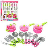 Посуда 21682  кастрюля, сковорода, сотейник, кух. принадлежности,16предм, в кор-ке, 37-37-8см