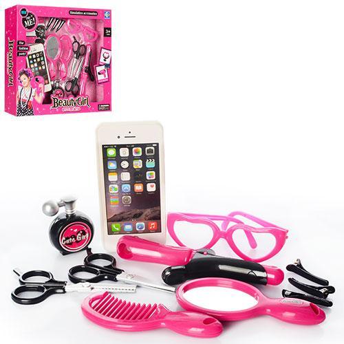 Набор аксессуаров YF740-3  телефон,ножницы,расческа,плойка,очки,зерк.бат, в кор-ке,33,5-30-7см