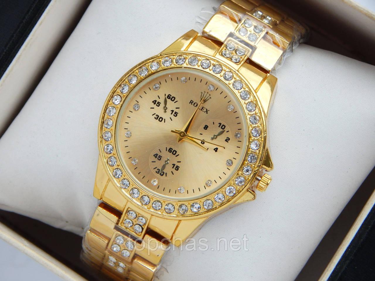 Женские кварцевые наручные часы Rolex, золотистого цвета, со стразами на корпусе и браслете, фото 1