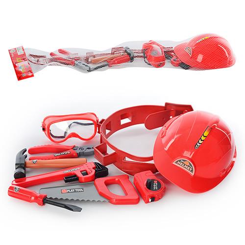 Набор инструментов T 110  каска,пояс,пила,плоскогубцы,молоток,рулетка,отвер,в сетке, 21-75-9см