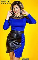 Платье приталенное комбинированное с эко-кожей и сеткой большие размеры 48, 50, 52, 54 код 72/41