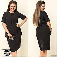 Женское демисезонное платье черного цвета в офисном стиле с коротким рукавом. Модель 14732