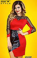 Платье приталенное комбинированное с эко-кожей и сеткой большие размеры 48, 50, 52, 54 код 74/41
