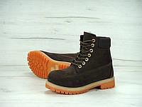 Мужские зимние ботинки Timberland с натуральным мехом (dark brown)