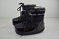 Женские сапоги-луноходы Emiledy California  на меху черные топ реплика