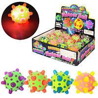 Мяч детский MS 0741  резина,7см,в кульке,свет,микс цветов,на бат-ке, 12шт в дисплее,26-19-7см