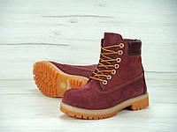 Женские зимние ботинки Timberland с натуральным мехом (red)