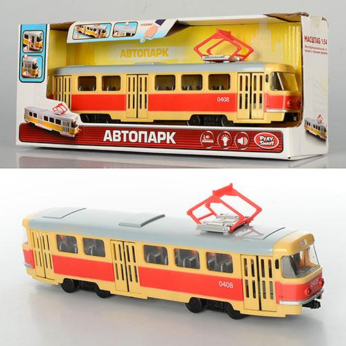 Трамвай 9708-A  28-10-6см,1:54,зв,свет,двери откр,на бат-ке,в кор-ке, 30,5-12,5-8см