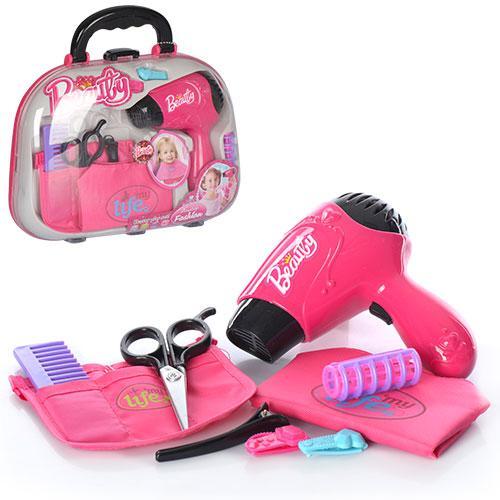 Набор парикмахера V977-6  фен,зв, расческа, ножницы,бигуди,на бат-ке, в чемодане,28-22,5-7см
