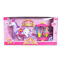 Карета 00508  с лошадью, 37см, лошадь ходит, муз,св, кукла 10см, на бат-ке,в кор-ке,39-10-21см