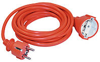 Шнур ІЕК УШ-01РВ, помаранчевий з круглою вилкою і розеткою, 2Р+РЕ, 3х1, 10м