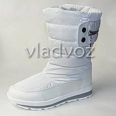 Модные подростковые дутики на зиму для девочки термо сапоги белые 33р. Tom.M