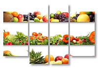 Модульная картина 3д фрукты и овощи