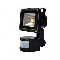 Светодиодный прожектор FLU-10 10W 6500K 220V (черный с датчиком движения)