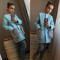 Кашемировое пальто с мехом на карманах
