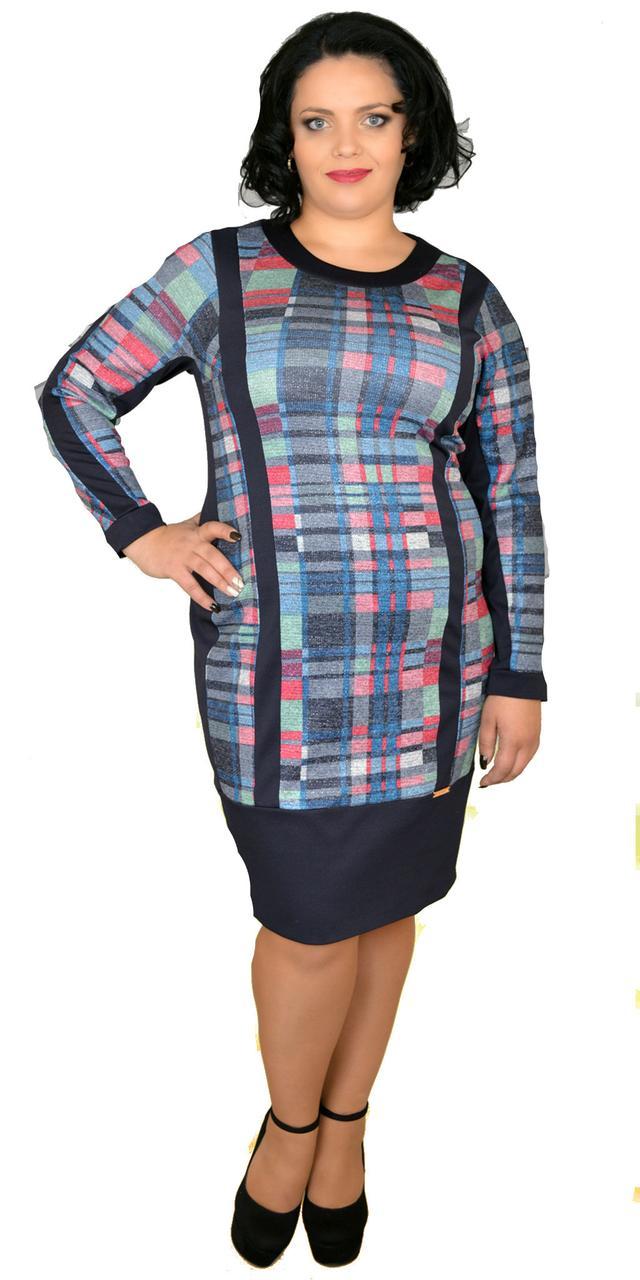 Комбинированное женское платье больших размеров, 52-62