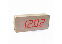 """Часы электронные с термометром """"под дерево"""" 865-1"""