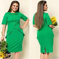 Женское демисезонное платье в офисном стиле с коротким рукавом зеленого цвета. Модель 14775