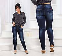 Тёплые женские джинсы стрейч на байке в больших размерах 5687
