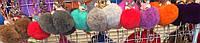Брелок подвеска меховая со стразами лисичка, кошка, 10 см, Оптом