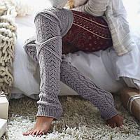 Длинные серые женские гетры выше колена, на завязках