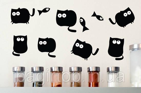 Вінілова інтер'єрна наклейка - набір (коти і рибки)