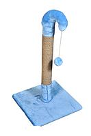 Когтеточка столбик из джута с игрушкой мех для кошек Гном 77 см