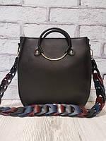 Оригинальная сумка из натуральной кожи черная матовая 1710, фото 1