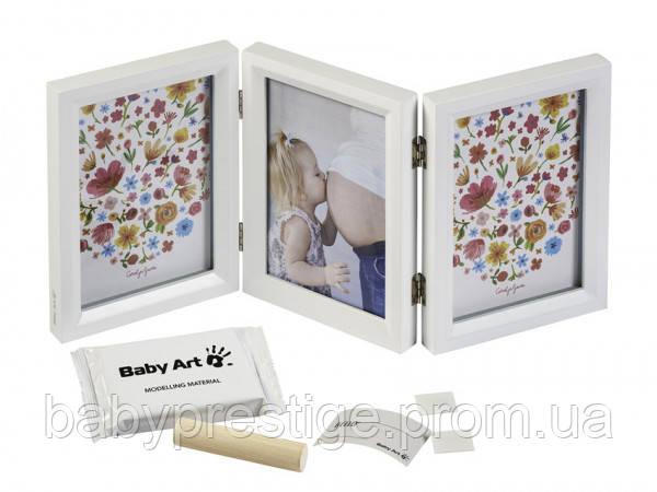 Белая рамка для оттиска ручек и ножек Baby art двусторонняя
