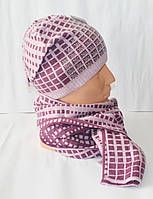Женский комплект шапка и шарф в клеточку, опт