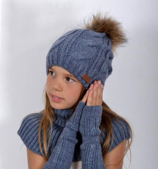 Натуральный мех, зимняя шапка Джульетта, серо-голубой (ОГ 55-58, подходят и на взрослых)