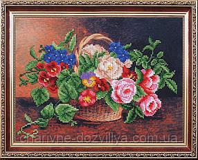 Набор для вышивки бисером Цветочная корзинка