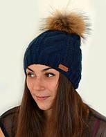 Натуральный мех, зимняя шапка Джульетта, синий (ОГ 55-58, подходят и на взрослых)