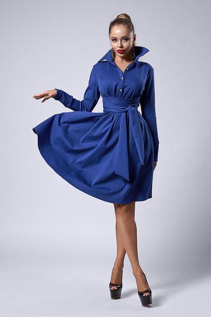Красивое нарядное платье клеш по колено из итальянского трикотажа,44,50