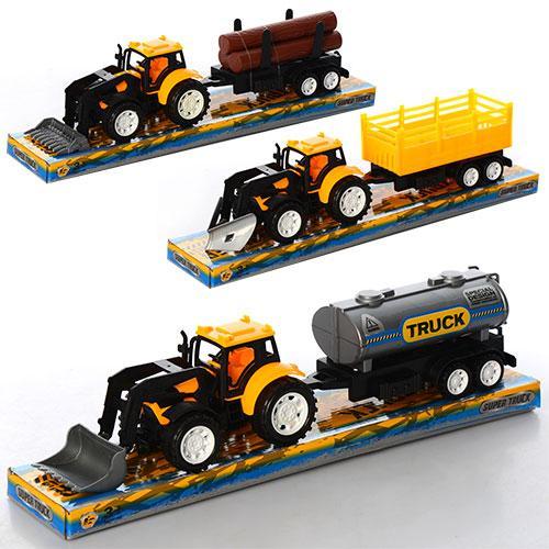 Трактор 9980-1-3-4  инер-й, бульдозер 16,5см, с прицепом, 3 вида, в слюде, 36,5-8-10см
