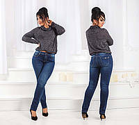 Тёплые женские джинсы стрейч на байке в больших размерах 6192