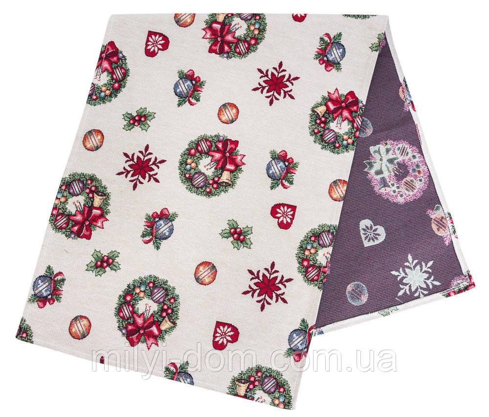 """Наперон\дорожка на стол  """"Рождественские венки"""", 37х100 см"""