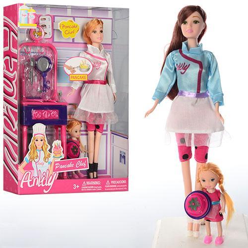Кукла LH017-1-2  30 см, с дочкой, 10 см, кухня, 28 см, посуда, 2 вида, в кор-ке, 23-32,5-6см
