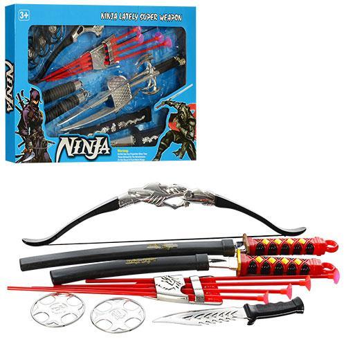 Набор ниндзя RZ1384-89  лук, стрелы-присоски 4шт,меч,сюрикен,нунчаки,2вид,в кор-ке,61-35-4,5см