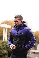 Мужская куртка-анорак утепленная Intruder с капюшоном - фиолетовый верх, черный низ. Код: АУ005/440