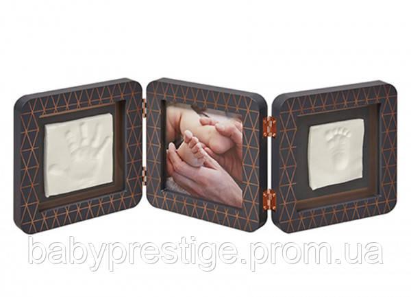 Набор для оттиска ножек и ручек Baby art, тройная рамка медно темно-серая