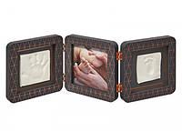 Набор для оттиска ножек и ручек Baby art, тройная рамка медно темно-серая, фото 1