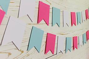 Бумажная гирлянда из флажков, микс цветов