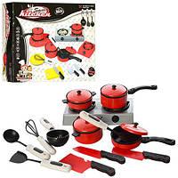 Посуда 3023  плита, кастрюли, сковородка, кухонные принадлежности, в кор-ке,23-17-5,5см