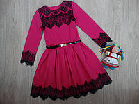 Нарядное платье с кружевом, малиновое для девочки р.152-158