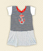 TM Dresko Платье Морячка вышивка кулир (10398)