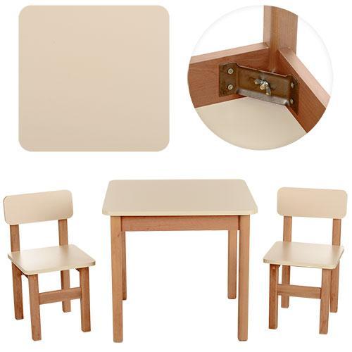 Столик F093  деревянный, 60-60см, 2 стульчика, в кор-ке, ваниль